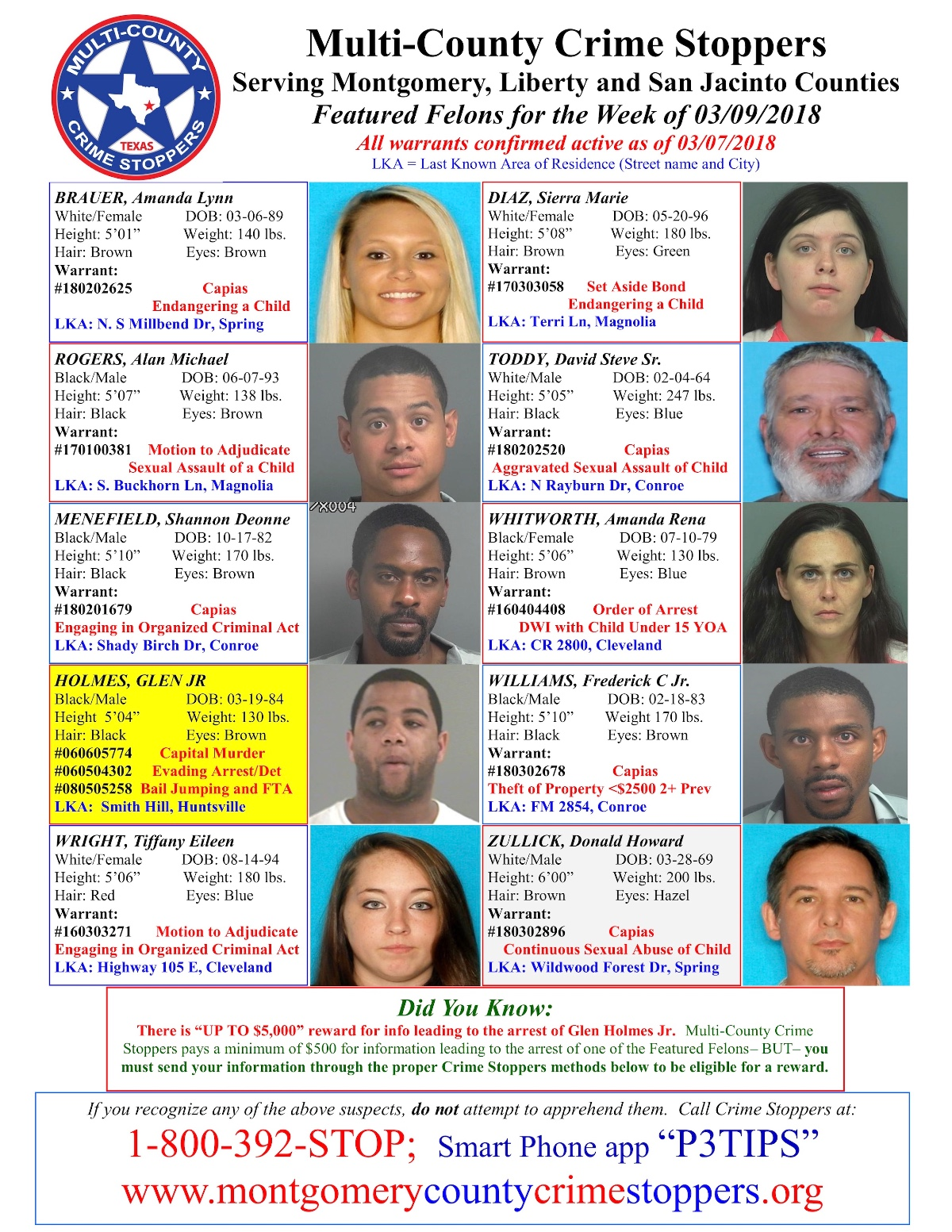 Featured Felons 3/9/18